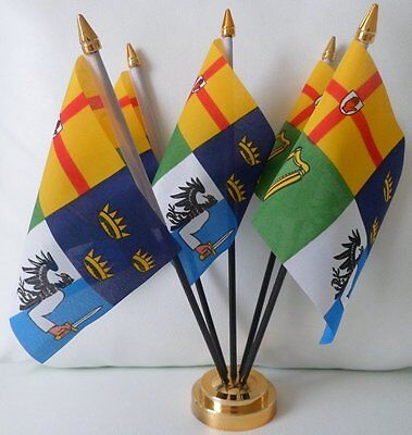 Ireland 4 Provinces Counties 5 Flag Flags Table Display Centrepiece Gold Base