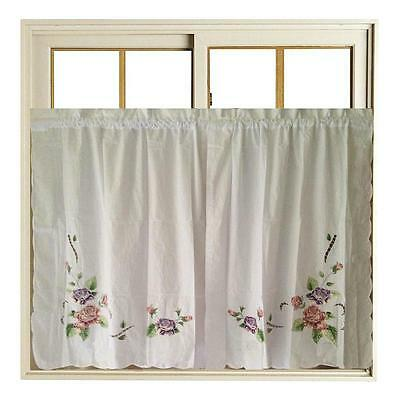 Pair of Beautiful Rose Applique Embroidery Cutwork White Door Curtain CL