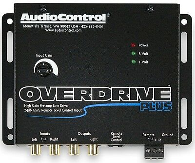 AudioControl OVERDRIVE PLUS 2 Channel 24 dB Gain Pre Amp RCA Voltage Line Driver