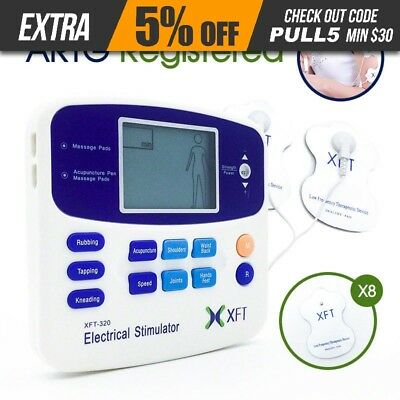 Physio Tens Machine XFT-320A Massager Tens/Back Pain/ 8 PADS Home AU
