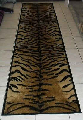 New Black/beige Animal Print Themed Hallway Runner Floor Rug 80X300Cm