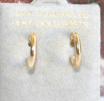 14K Gf Gold Filled Perfect Small Huggie Shiny Hoop Earrings