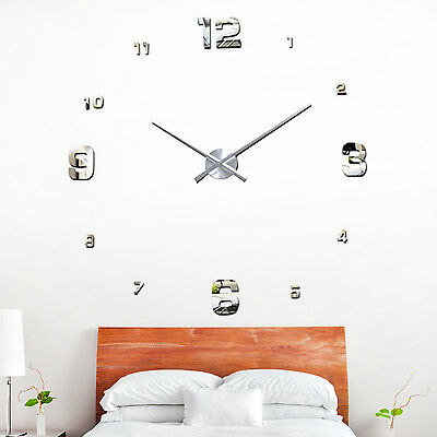 Family Home Mirror Bedroom Decoration Decal Art Wall Clock Silver Living Room