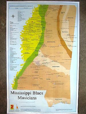 MISSISSIPPI BLUES MUSICIANS BIRTHPLACE MAP POSTER + free MS Blues Trail brochure
