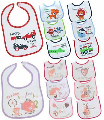 BabyPrem Baby Boys Girls 7 Pack Days of the Week Plastic Backed Bibs Dribble Bib