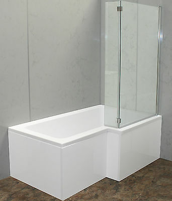 Shower Bath 1500 1700 Square L Shape 6Mm Glass Screen Solid Mdf Front Panel New