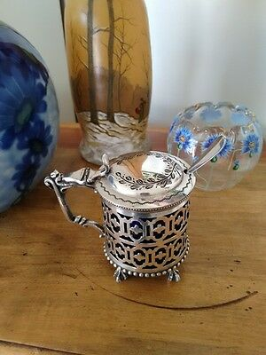 Antique French Silver Plate Mustard Pot Of Fresnais Goldsmith