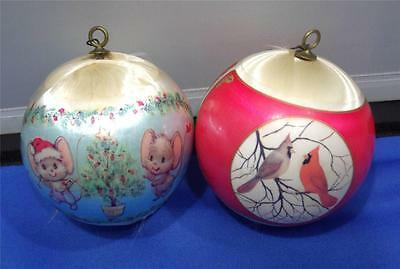 Vintage Hallmark 1977 Satin Ornaments First Christmas & Decorating Mice