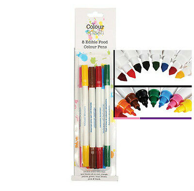 COLOUR SPLASH set of 8 double ended edible food colour Pens fine/thin and thick