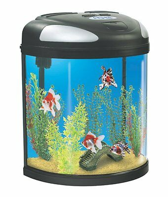Interpet Fish Tank Aquarium LED Half Moon Tank 19 Litre Black