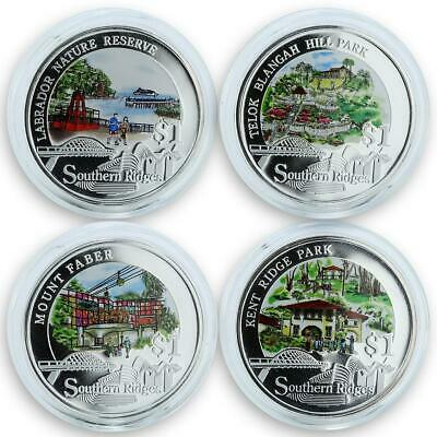 Singapore set of 4 coins Southern parks trees silver coin 2008