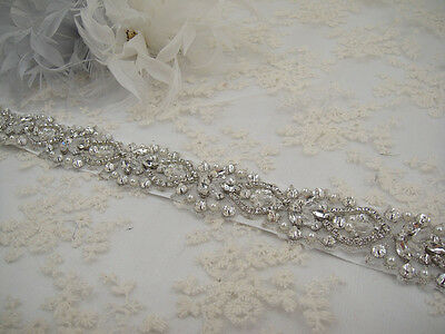 "18"" Long Handmade Rhinestone Wedding Sash Ivory Pearl Crystal Bridal Belt"