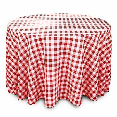 """120"""" Round Red and White Checkered Gingham Tablecloth Polyester"""
