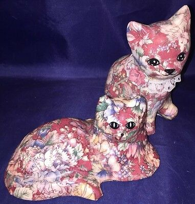 Vtg Country Shabby Chic Decor Decoupage Floral Cats Pair Figurines Statues Art