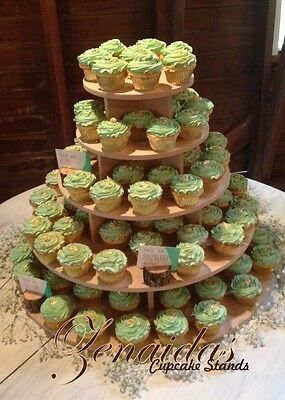 5 Tier Cupcake Stand Round Wood Diy Project Cupcake Tower