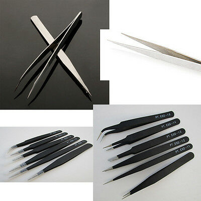 Professional Coated Precision Tweezers Set Stainless Steel Non Magnetic 2 Size
