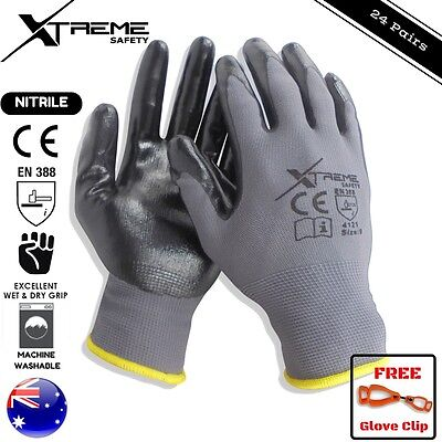 24 Pairs Safety Gloves Nitrile General Purpose Mechanical Xtreme Work Gloves