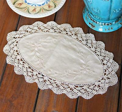 Beautiful Hand Bobbin Lace Flower Embroidery Oval Beige Cotton Doily