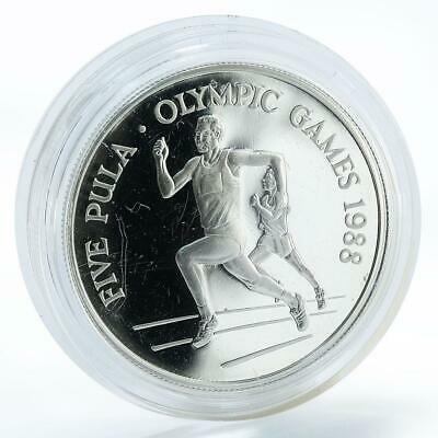 Botswana 5 pula Olympic games 1988 sport runner silver coin 1988