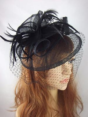 Black Sinamay Fascinator Hat With Birdcage Veil - Occasion Wedding Races Funeral