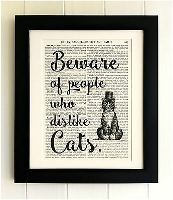 ART PRINT ON OLD ANTIQUE BOOK PAGE *FRAMED* Cat Quote, Dictionary, Vintage, Gift