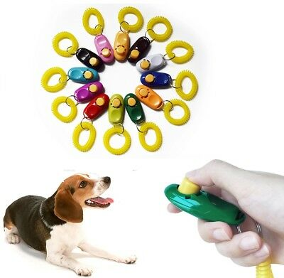 Dog Training Clicker Pet Dog Clicker Teaching Tool Obedience Aid + Wrist Strap