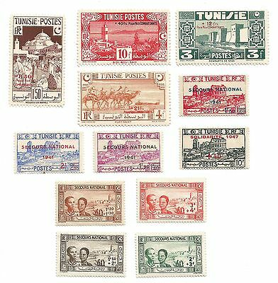 TUNISIE RF 12 timbres anciens  /T3