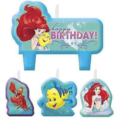 Disney ARIEL Little Mermaid Cake Topper 4 Candles Set Birthday Party Decorations