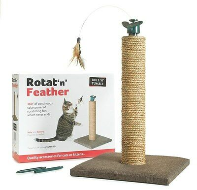 Rotat 'n' Feather Cat Kitten Scratching Post With Powered Spinning Teaser