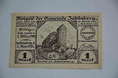 JAKOBSBERG Kreis Höxter Notgeld 1 Mark 1921 German Emergency Money Old (6564)