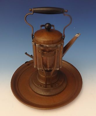 """Joseph Heinrichs Copper Kettle On Stand with Tray Arts & Crafts 13"""" X 8"""" (#0190)"""