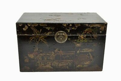 Collectible Chinese Antique Wooden Black Painted Storage Treasure Box MAY29-11
