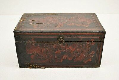 Black Chinese Antique Wooden Small Treasure Box Chest Painted Flower AP28-06