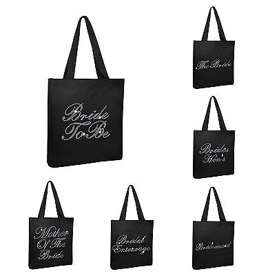 Black Crystal Wedding Favour Tote Bags personalised bridesmaid hen party gift