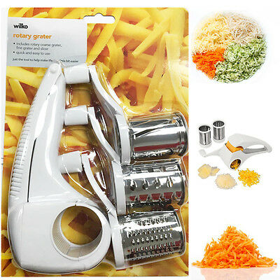 Rotary Grater Hand Held Vegetable Cheese Cutter Kitchen Slicer Peeler Blades New