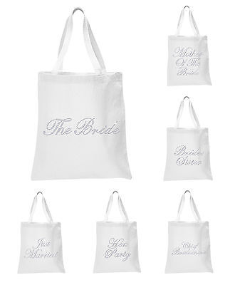 White Crystal Wedding Favour Tote hen Bags Party Night bride bridesmaid gift