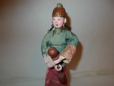 """Antique Chinese Doll In Silk Costume Wired Onto Wood Stand 10 1/4"""" Tall"""