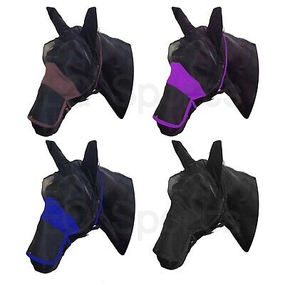 FREE&FAST POSTAGE Full Face FLY Mask/Veil with nose ALL SIZES Black-Blue & Beige