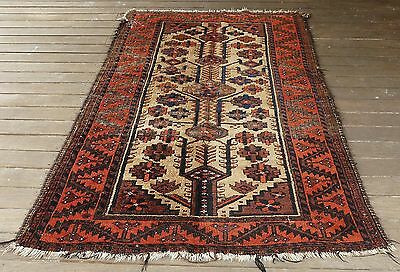 Early Rare Antique Baluch Tribal Pile Rug Camel's Wool Ground C1900