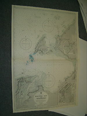 Vintage Admiralty Chart 1844 BRUNEI BAY & APPROACHES 1960 edn