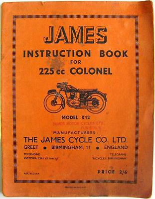JAMES 255cc K12 Colonel - Motorcycle Owners Handbook - #K12/54/A