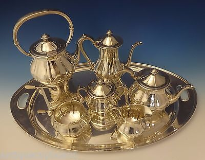 Arthur Stone Sterling Silver Tea Set Tilting Kettle On Cradle w/Tray 7pc #0176