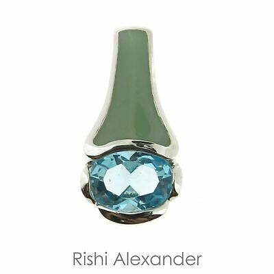925 Sterling Silver Green Enamel and Blue CZ Pendant