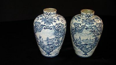 A Lovely Pair Of Blue Delft Vases