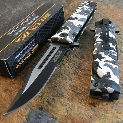 TAC FORCE Spring Assisted Opening Sawback Bowie Rescue SNOW CAMO Pocket Knife