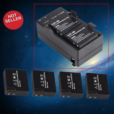 4Pcs 3.7V 900mAh Battery + Dual Charger Adapter For SJ4000 Action Sport Camera