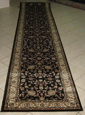 New Extra Long Black Persian Design Hallway Runner Floor Rug 80X500Cm