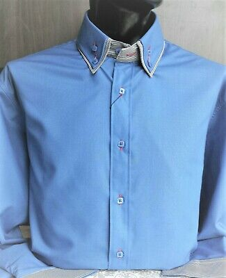 Dominic Stefano Mens Casual Textured Contrast Paisley Double Collar Shirt 475