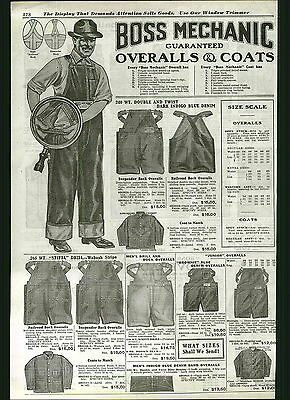 1922 ADVERT Boss Mechanic Blue Jeans Denim Work Pants Stifel Wabash Stripe Duck