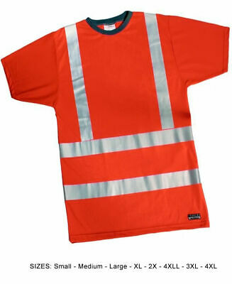 Reflective Tee Hi Visibility T-Shirt Orange T-Shirt EN471 Class 2 Hi Viz S to 4X